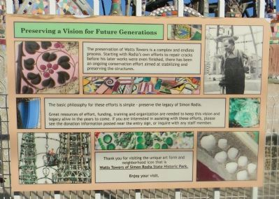 Watts Towers Marker Panel 11 image. Click for full size.