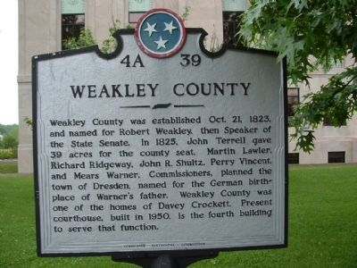 Weakley County Marker image. Click for full size.