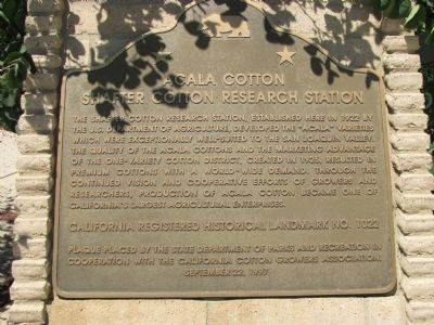 Shafter Cotton Research Station Marker image. Click for full size.