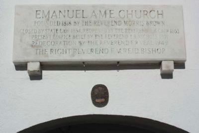 Emanuel A.M.E. Church Marker, with National Register Medallion image. Click for full size.