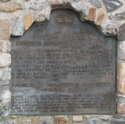 The San Fernando Pioneer Memorial Cemetery Marker image. Click for full size.