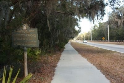 Harrington Hall Marker, looking north along Lawrence Road image. Click for full size.