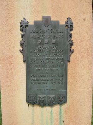Louis McCahill Memorial Park Plaque image. Click for full size.