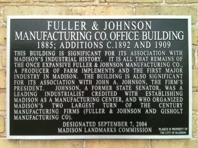 Fuller & Johnson Manufacturing Co. Office Building Marker image. Click for full size.