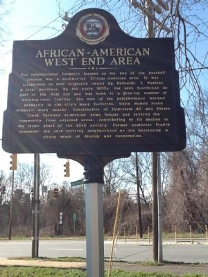 African-American West End Area Marker image. Click for full size.
