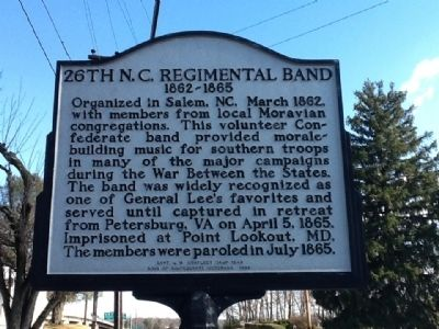 26th N.C. Regimental Band Marker image. Click for full size.