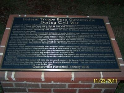 Federal Troops Burn Guntersville During Civil War Marker image. Click for full size.