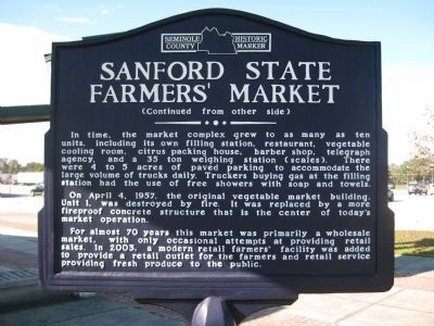 Sanford State Farmers' Market Marker image. Click for full size.