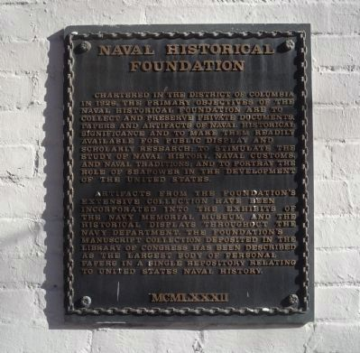 Naval Historical Foundation Marker image. Click for full size.