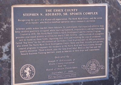 Stephen N. Adubato, Sr. Sports Complex Marker image. Click for full size.