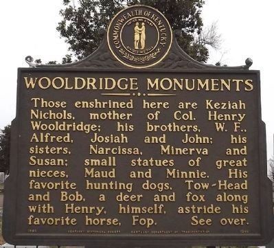 Wooldridge Monuments Marker (obverse) image. Click for full size.