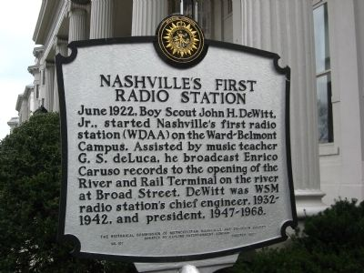 Nashville's First Radio Station Marker image. Click for full size.