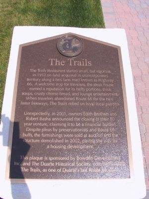 The Trails Restaurant Marker image. Click for full size.