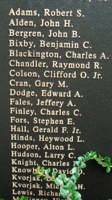 Owl's Head Veterans Memorial Vietham Honor Roll image. Click for full size.
