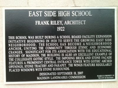 East Side High School Marker image. Click for full size.