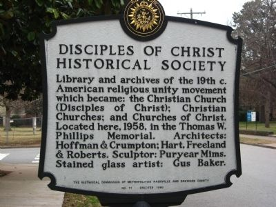 Disciples of Christ Historical Society Marker image. Click for full size.
