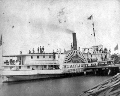 Side wheel steamboat <i>Starlight</i> image. Click for full size.