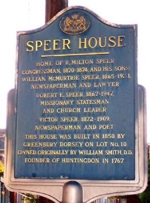 Speer House Marker image. Click for full size.