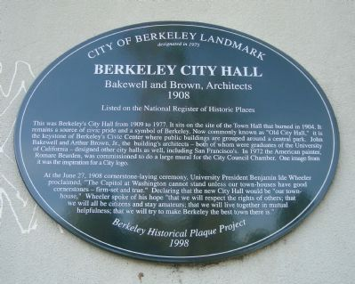 Berkeley City Hall Marker image. Click for full size.