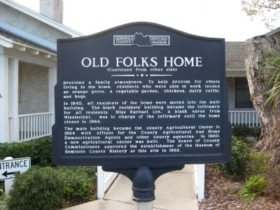 Old Folks Home Marker image. Click for full size.