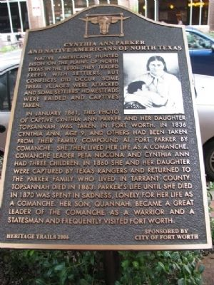 Cynthia Ann Parker and Native Americans of North Texas Marker image. Click for full size.