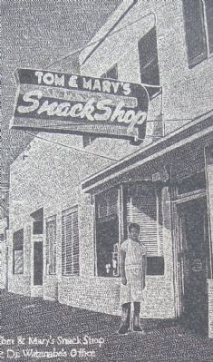 Detail from the Tom & Mary's Snack Shop & Dr. Watanabe's Office Marker image. Click for full size.