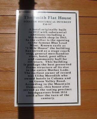 The Smith Flat House Marker image. Click for full size.