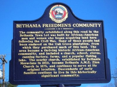 Bethania Freedman's Community Marker image. Click for full size.