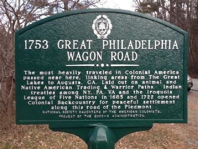 1753 Great Philadelphia Wagon Road Marker image. Click for full size.