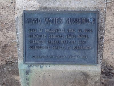 Stand Watie's Surrender Marker image. Click for full size.
