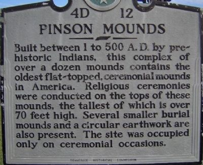 Pinson Mounds Marker image. Click for full size.