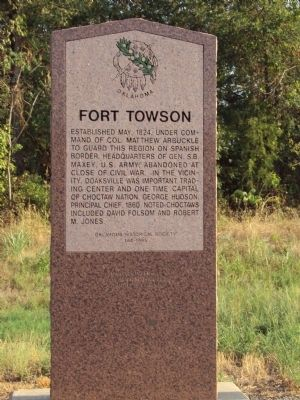 Fort Towson Marker image. Click for full size.