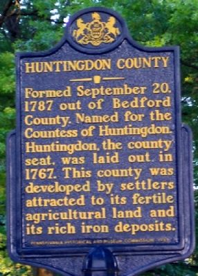 Huntingdon County Marker image. Click for full size.