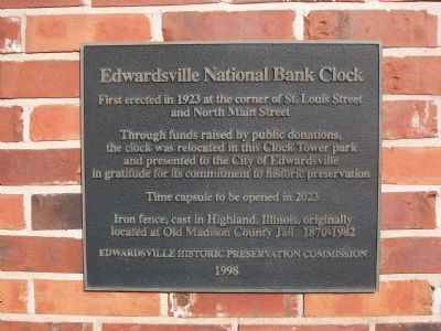 Marker on Edwardsville National Bank Clock Tower image. Click for full size.