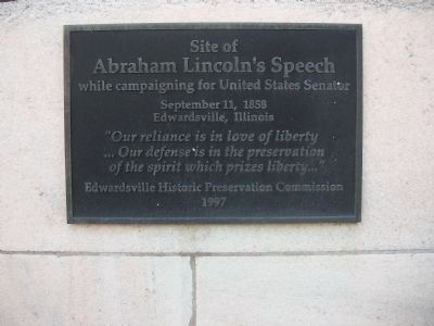 Plaque at Site of Abraham Lincoln's Speech image. Click for full size.