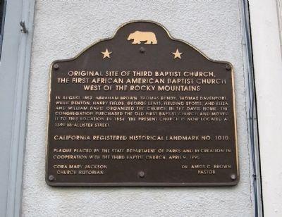 Original Site of Third Baptist Church Marker image. Click for full size.