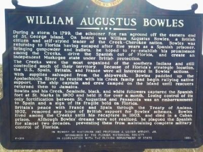 William Augustus Bowles Marker image. Click for full size.