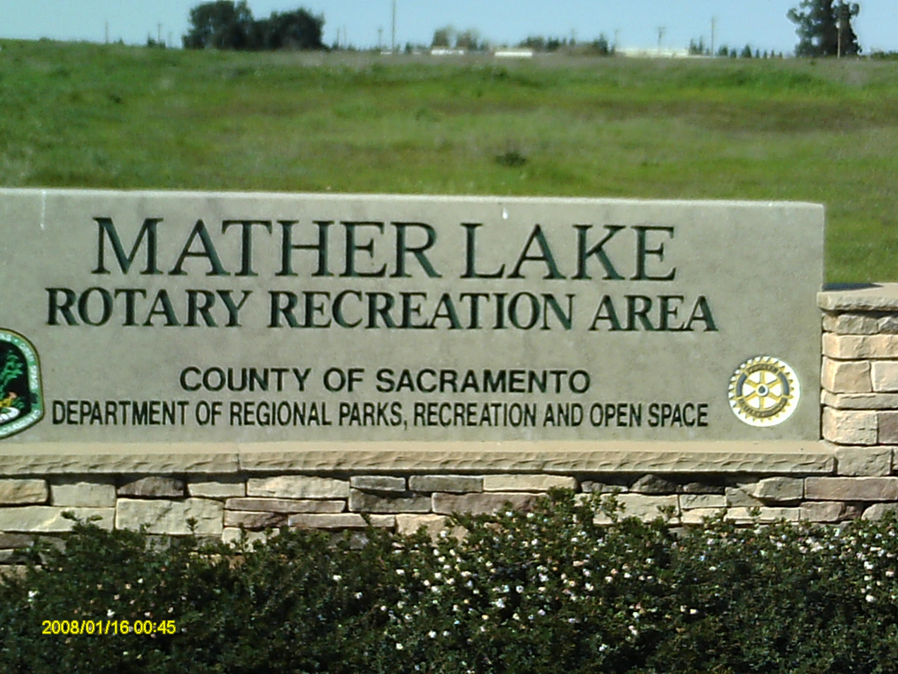 Mather Lake Rotory Recreation Area Entrance Sign