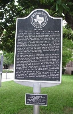 Site of the First Masonic Hall in Fort Worth Marker image. Click for full size.
