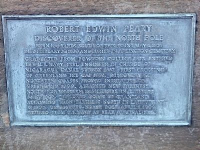 Robert E. Peary Statue Plaque image. Click for full size.