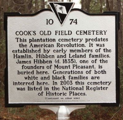 Cook's Old Field Cemetery Marker image. Click for full size.