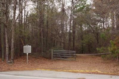 Cook's Old Field Cemetery Marker, at driveway, closed and posted No Trespassing image. Click for full size.
