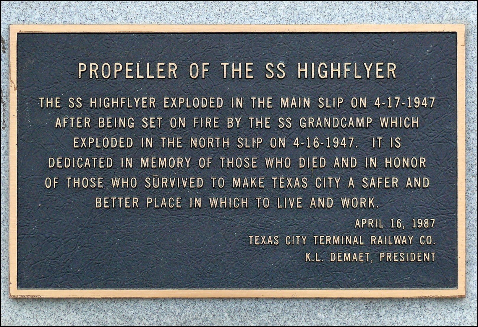 Propeller of the SS Highflyer Marker