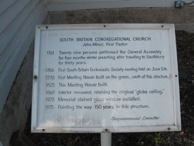 South Britain Congregational Church Marker image. Click for full size.