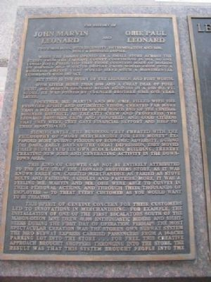 Leonard Brothers Department Store Marker (left side) image. Click for full size.