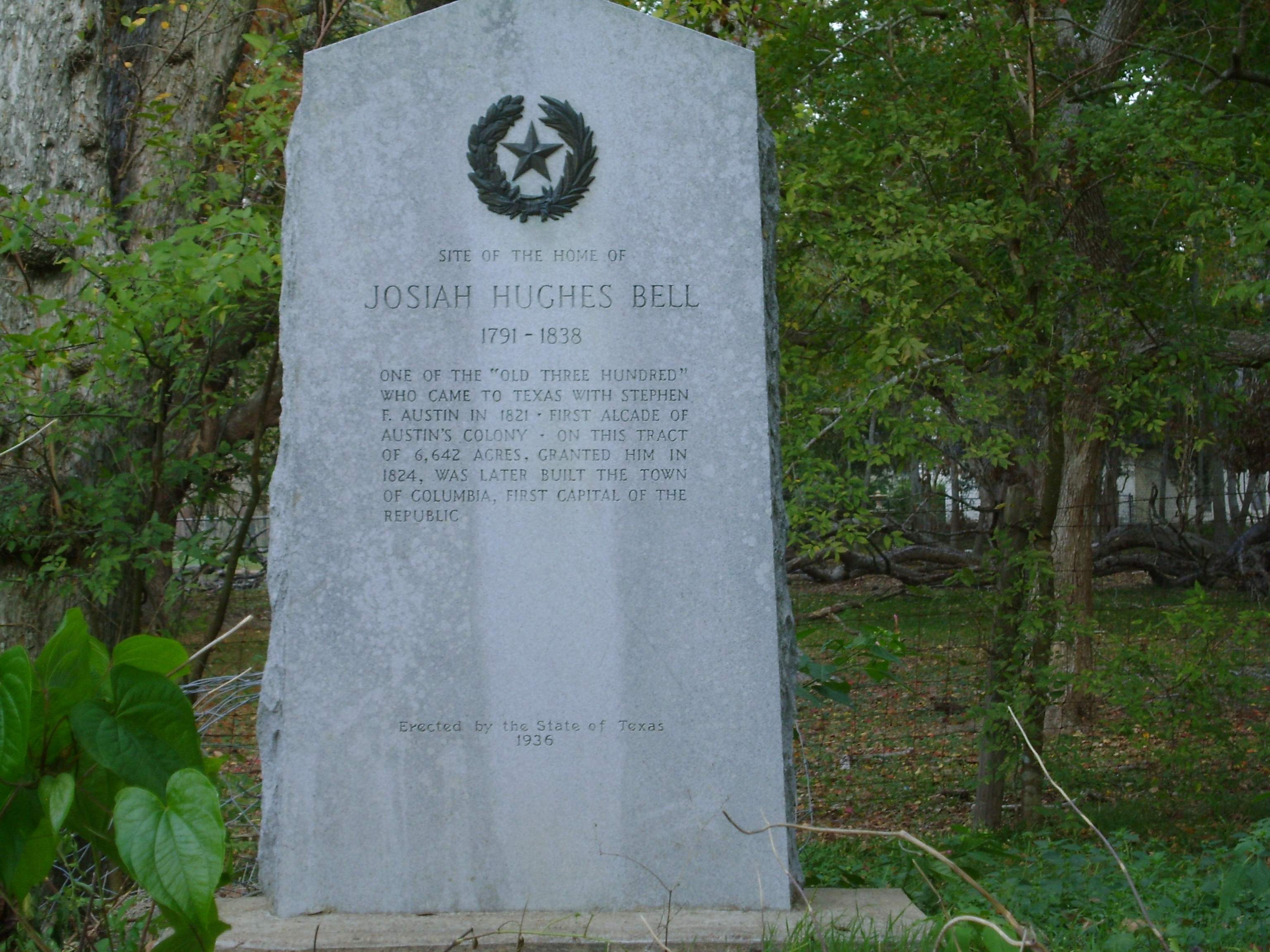 Site of the home of Josiah Hughes Bell Marker