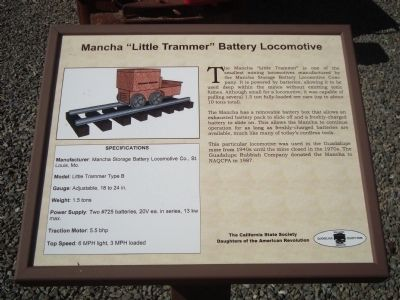 "Mancha ""Little Trammer"" Battery Locomotive Marker image. Click for full size."