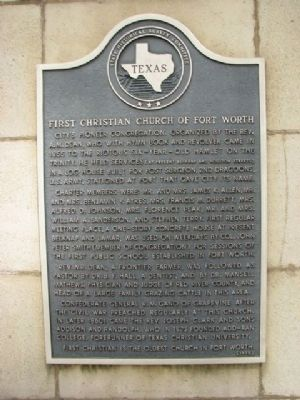 First Christian Church of Fort Worth Marker image. Click for full size.