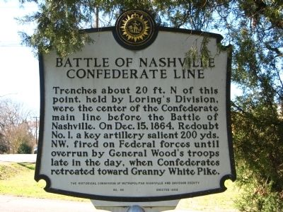 Battle of Nashville Confederate Line Marker image. Click for full size.