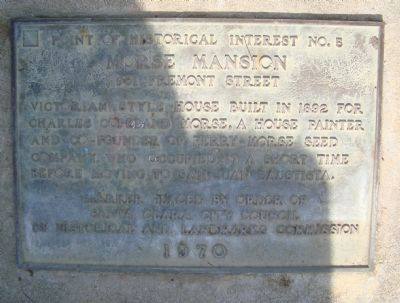 Morse Mansion Marker image. Click for full size.